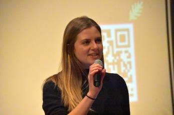 COE Fellow and American Studies major Fiona McLeod '19, introduces filmmaker Angelo Baca.