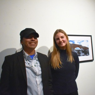 Filmmaker Angelo Baca and Fiona McLeod '19, at McLeod's Bears Ears photo exhibition at the Zilkha Gallery.