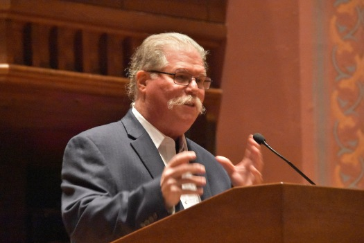 Barry Chernoff, director of the COE and the Robert F. Schumann Professor of Environmental Studies, welcomed the audience of Wesleyan and greater Middletown community members to Memorial Chapel for the event.